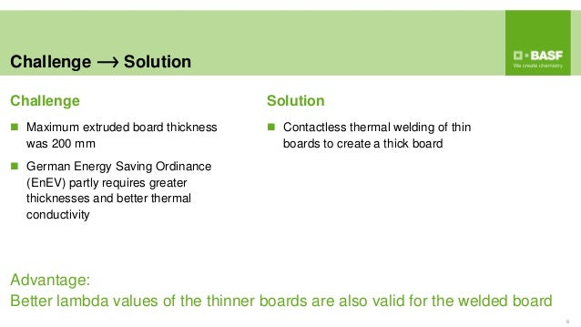 Challenge Solution 8  Maximum extruded board thickness was 200 mm  German Energy Saving Ordinance (EnEV) partly requires...
