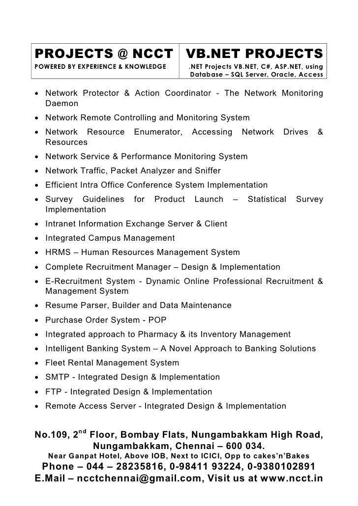 7 sw ncct vb net project titles 2009 2010 latest  new  innova u2026