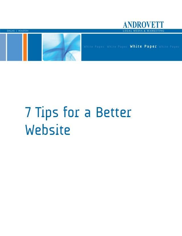 7 Tips for a Better Website