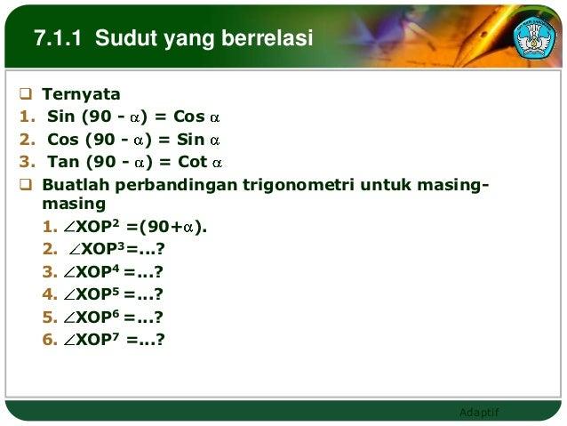 7.1.1 Sudut yang berrelasi    Ternyata1.    Sin (90 - ) = Cos2.    Cos (90 - ) = Sin3.    Tan (90 - ) = Cot    Buatlah p...