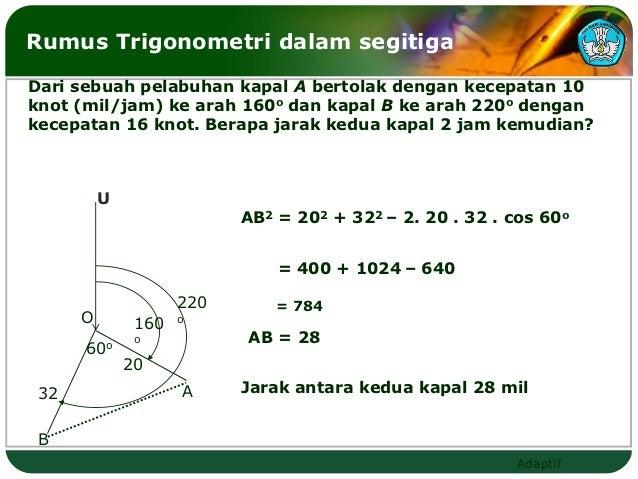 Rumus Trigonometri dalam segitigaDari sebuah pelabuhan kapal A bertolak dengan kecepatan 10knot (mil/jam) ke arah 160o dan...