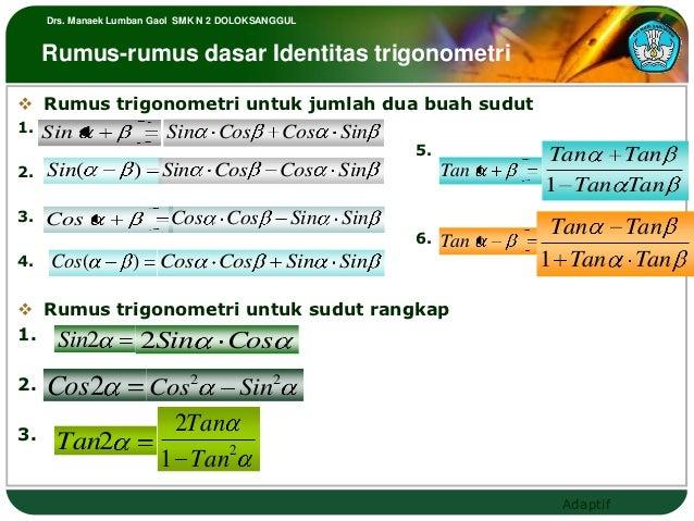 Drs. Manaek Lumban Gaol SMK N 2 DOLOKSANGGUL     Rumus-rumus dasar Identitas trigonometri Rumus trigonometri untuk jumlah...