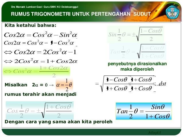 Drs Manaek Lumban Gaol Guru SMK N 2 Doloksanggul  RUMUS TRIGONOMETRI UNTUK PERTENGAHAN SUDUTKita ketahui bahwa:           ...