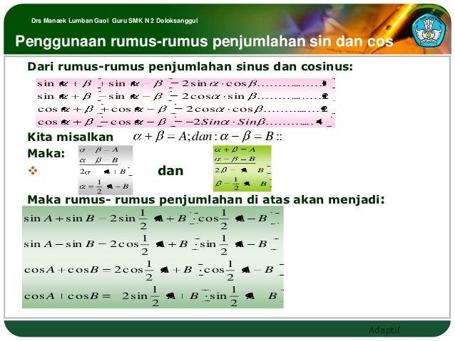 Drs Manaek Lumban Gaol Guru SMK N 2 DoloksanggulPenggunaan rumus-rumus penjumlahan sin dan cos Dari rumus-rumus penjumlaha...
