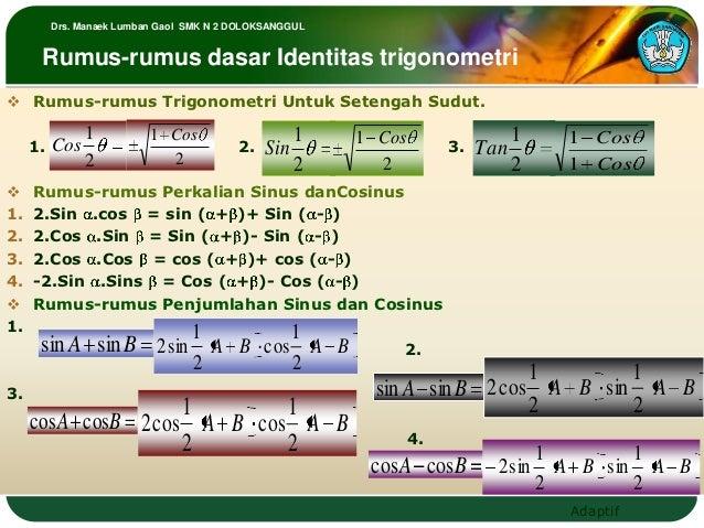 Drs. Manaek Lumban Gaol SMK N 2 DOLOKSANGGUL      Rumus-rumus dasar Identitas trigonometri Rumus-rumus Trigonometri Untuk...