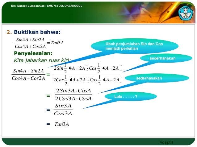 Drs. Manaek Lumban Gaol SMK N 2 DOLOKSANGGUL2. Buktikan bahwa:   Sin4 A Sin2 A                   Tan3 A              Ubah ...