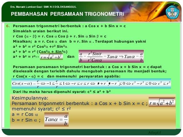 Drs. Manaek Lumban Gaol SMK N 2 DOLOKSANGGUL  PEMBAHASAN PERSAMAAN TRIGONOMETRi6. Persamaan trigonmetri berbentuk : a Cos ...