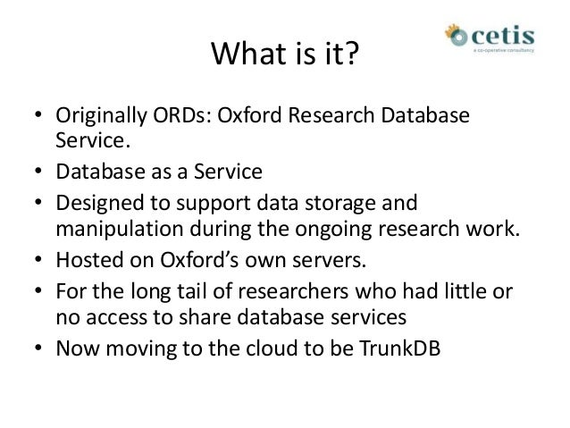 ORDS, research data network Slide 2