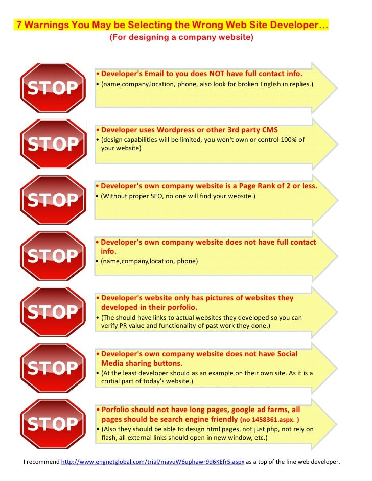 7 Warnings You May be Selecting the Wrong Web Site Developer…                              (For designing a company websit...