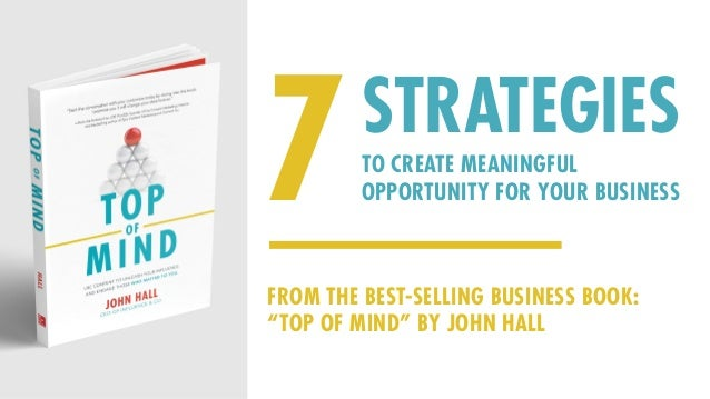 """7TO CREATE MEANINGFUL OPPORTUNITY FOR YOUR BUSINESS STRATEGIES FROM THE BEST-SELLING BUSINESS BOOK: """"TOP OF MIND"""" BY JOHN ..."""
