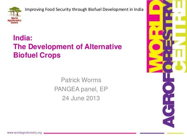 India:The Development of AlternativeBiofuel CropsPatrick WormsPANGEA panel, EP24 June 2013Improving Food Security through ...