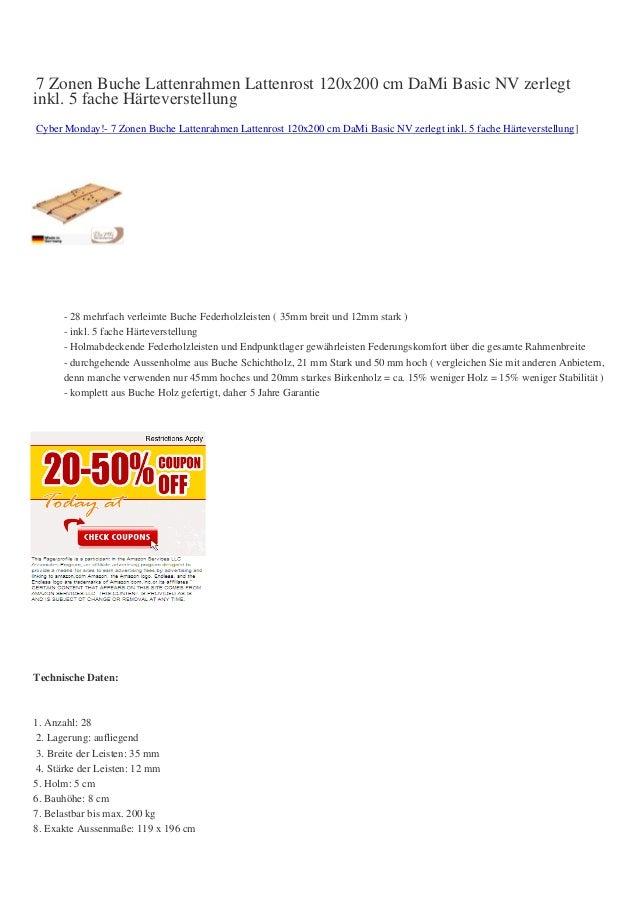 7 Zonen Buche Lattenrahmen Lattenrost 120x200 cm DaMi Basic NV zerlegtinkl. 5 fache HärteverstellungCyber Monday!- 7 Zonen...