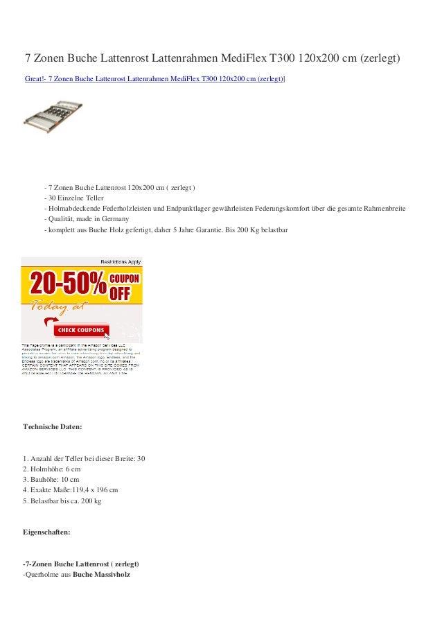 7 Zonen Buche Lattenrost Lattenrahmen MediFlex T300 120x200 cm (zerlegt)Great!- 7 Zonen Buche Lattenrost Lattenrahmen Medi...