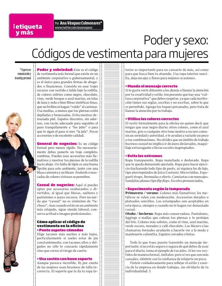 a4e18aced98 Poder y sexo: Códigos de vestimenta para mujeres