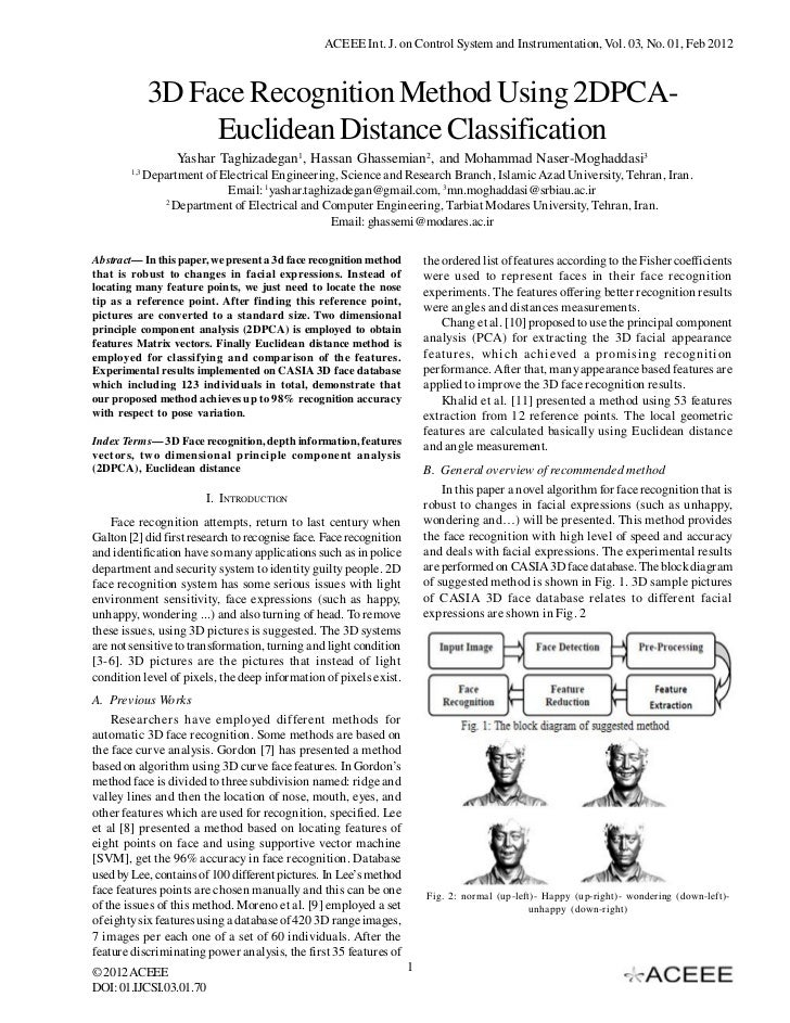 ACEEE Int. J. on Control System and Instrumentation, Vol. 03, No. 01, Feb 2012              3D Face Recognition Method Usi...
