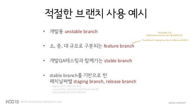 몇가지 머지 팁브랜치 작업/통합시 side-effect, 브랜치 크기(브랜치 기간)에 따라 적절한 형태를 활용버블파이터 개발당시 feature branch- 3가지 브랜치 형태1 2 3
