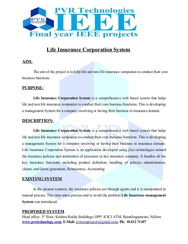 project report on life insurance corporation Many different kinds of insurance.