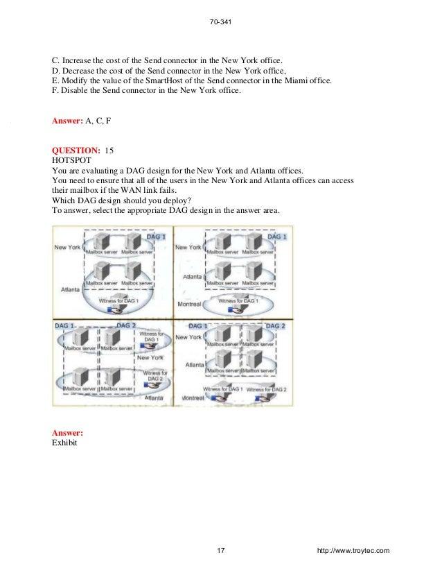 70-341 Exam-Core Solutions of Microsoft Exchange Server 2013