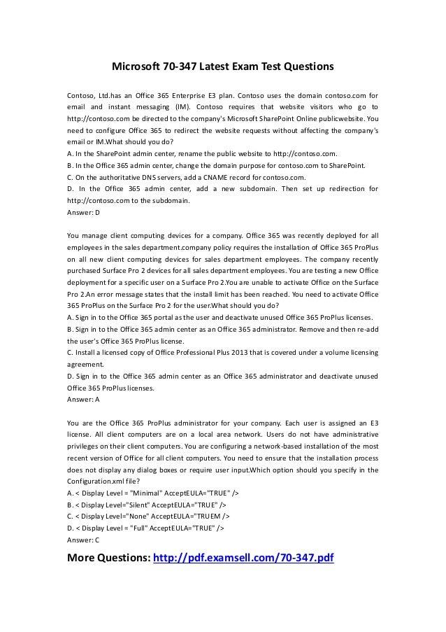 Microsoft 70-347 Latest Exam Test Questions Contoso, Ltd.has an Office 365 Enterprise E3 plan. Contoso uses the domain con...