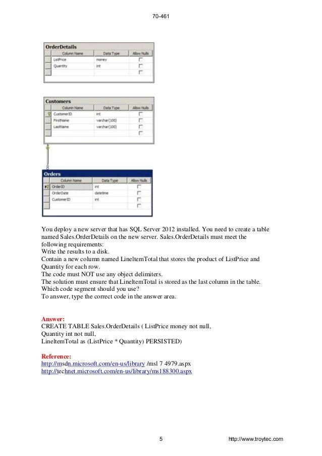 70 461 Exam Querying Microsoft Sql Server 2012