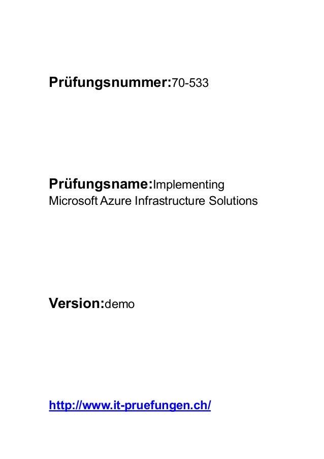 zertifizierungsprüfung Microsoft 70-533 Implementing Microsoft Azure…
