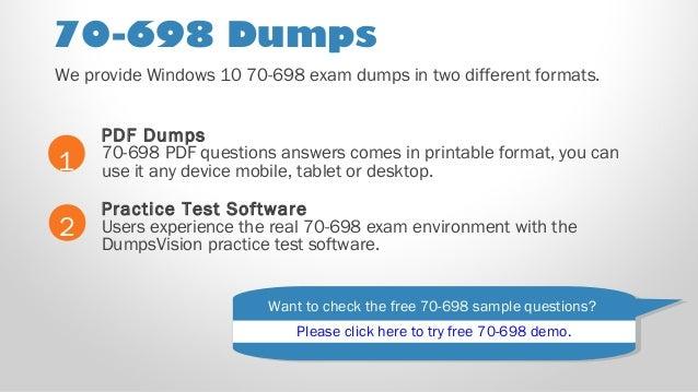70-698 Microsoft MCSA Installing And Configuring Windows 10 Test PDF /& Sim