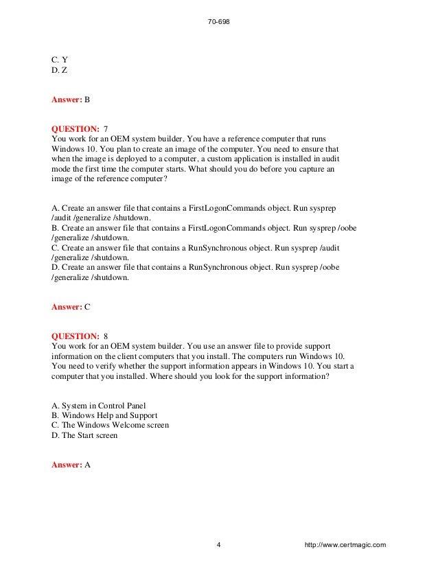 Installing and Configuring Windows 10 Exam 70-698