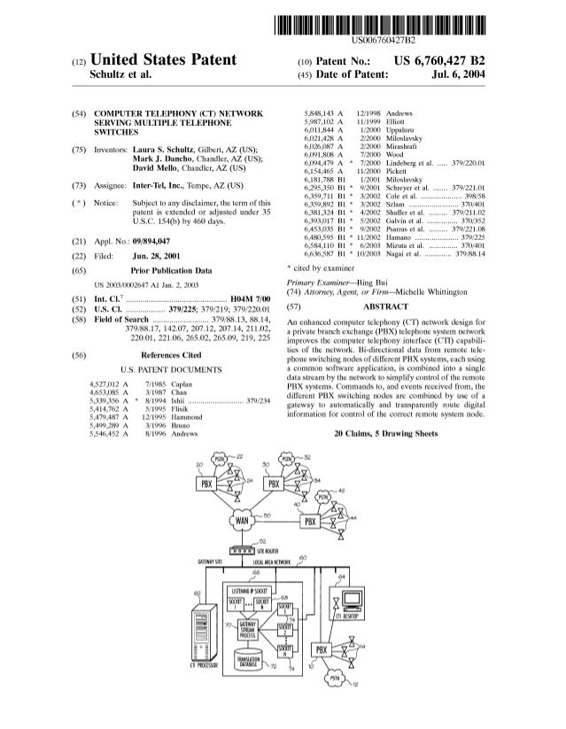 (12) United States Patent Schultz et al. (54) COMPUTER TELEPHONY (CT) NETWORK SERVING MULTIPLE TELEPHONE SWITCHES (75) Inv...