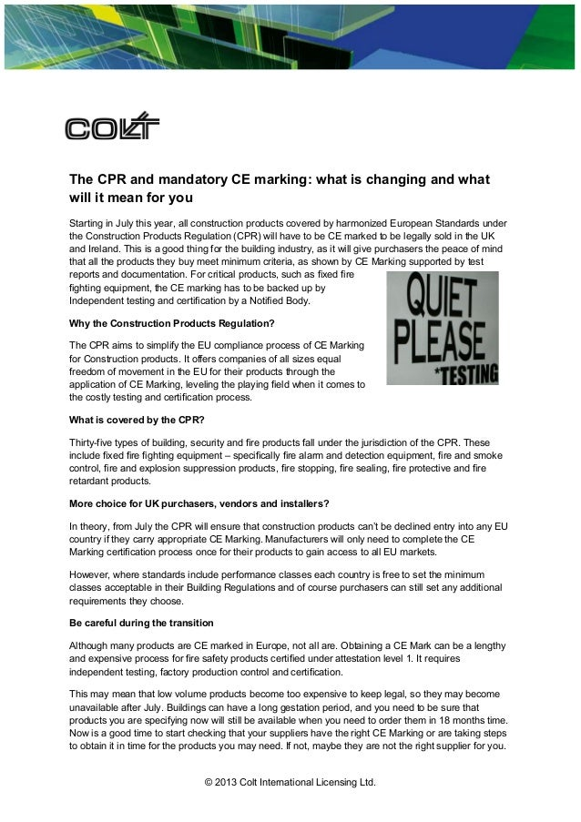 The Cpr And Mandatory Ce Marking What Is Changing And What Will It M
