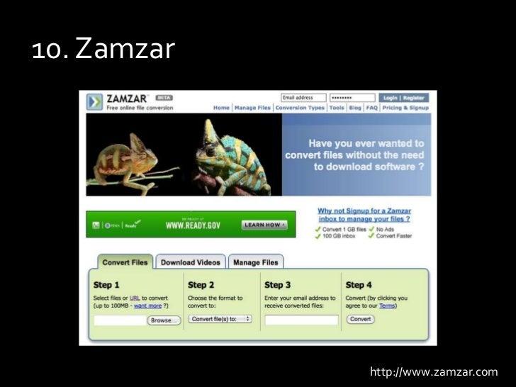 10. Zamzar<br />http://www.zamzar.com<br />