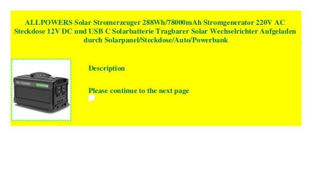 ALLPOWERS Solar Stromerzeuger 288Wh//78000mAh Stromgenerator 220V AC Steckdose 12V DC und USB C Solarbatterie Tragbarer Solar Wechselrichter Aufgeladen durch Solarpanel//Steckdose//Auto//Powerbank