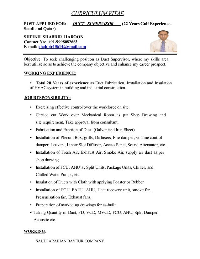 Hvac Foreman Resume Sample