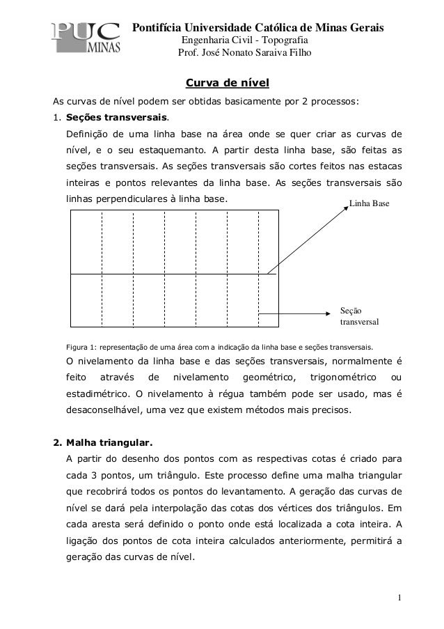 Pontifícia Universidade Católica de Minas Gerais                                   Engenharia Civil - Topografia          ...