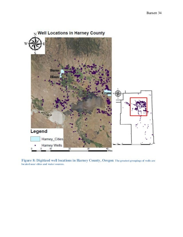 Barnett 34 Figure 8: Digitized well locations in Harney County, Oregon. The greatest groupings of wells are located near c...