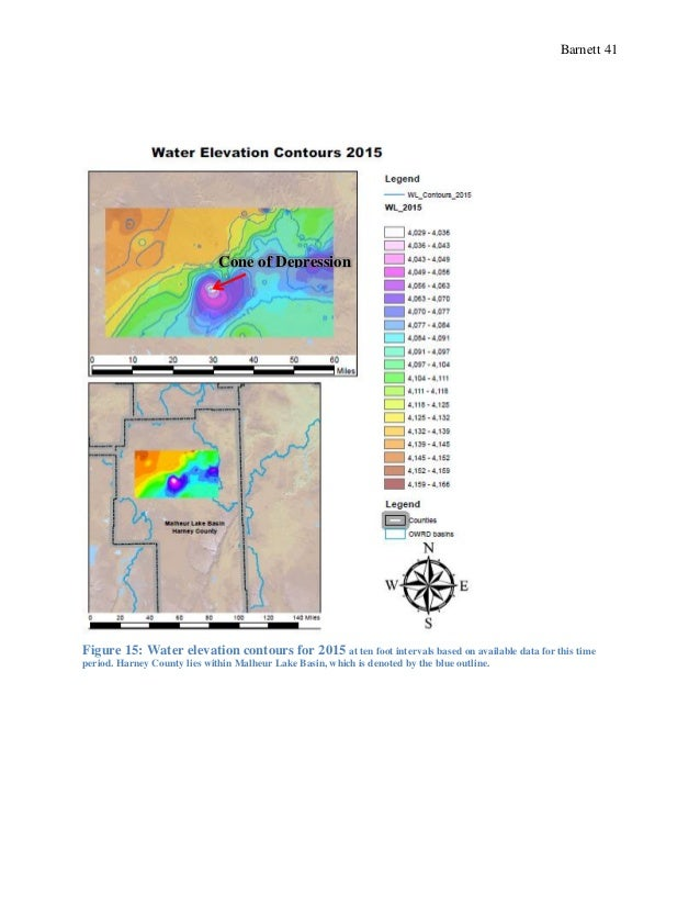Barnett 41 Figure 15: Water elevation contours for 2015 at ten foot intervals based on available data for this time period...