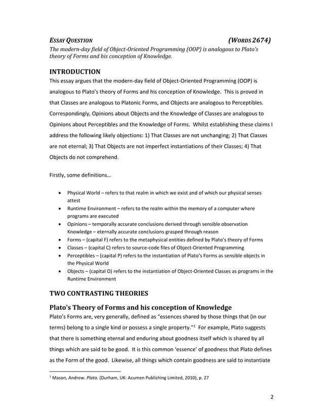 2 ESSAYQUESTION        (WORDS2674) Themodern‐dayfieldofObject‐OrientedProgramming(OOP)isanalogoustoP...