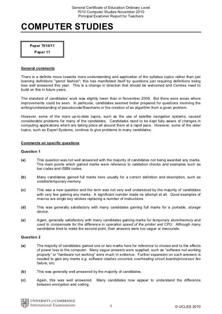 General Certificate of Education Ordinary Level                                 7010 Computer Studies November 2010       ...