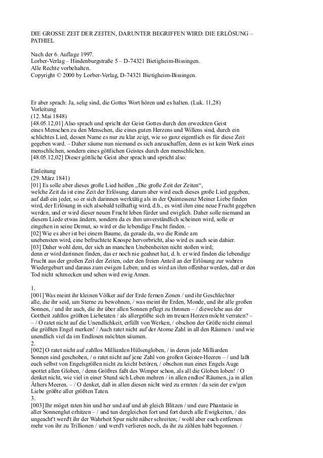 DIE GROSSE ZEIT DER ZEITEN, DARUNTER BEGRIFFEN WIRD: DIE ERLÖSUNG –PATHIELNach der 6. Auflage 1997.Lorber-Verlag – Hindenb...
