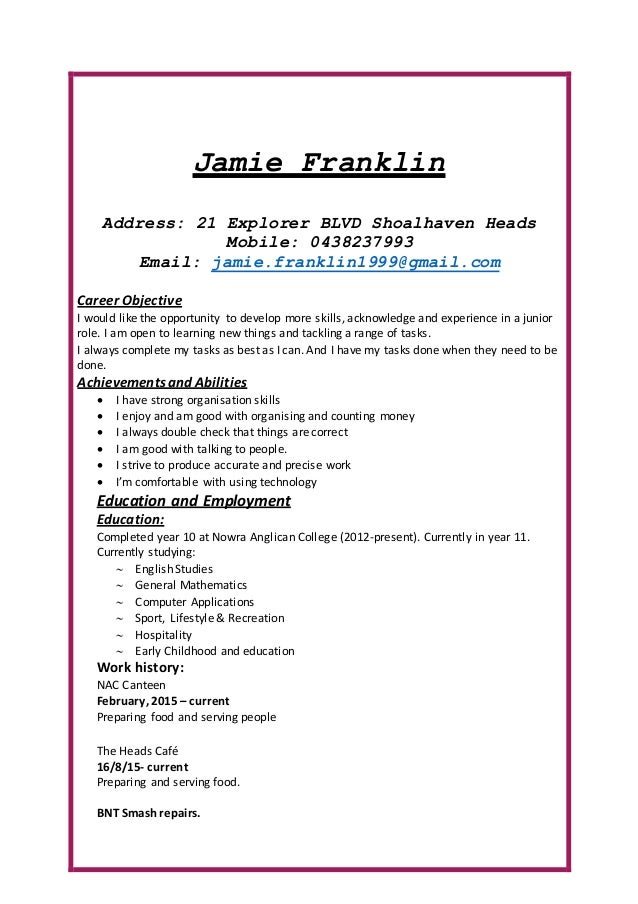 yours sincerely jamie franklin 2. Resume Example. Resume CV Cover Letter
