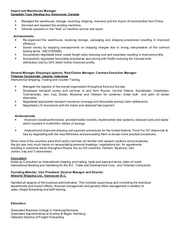vending manager resume