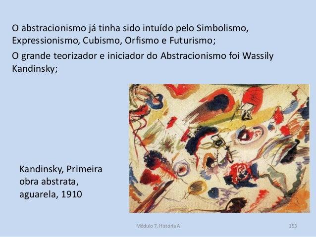 Kandinsky, Primeira obra abstrata, aguarela, 1910 O abstracionismo já tinha sido intuído pelo Simbolismo, Expressionismo, ...