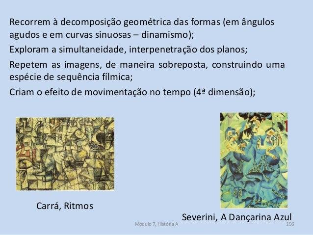 Severini, A Dançarina Azul Recorrem à decomposição geométrica das formas (em ângulos agudos e em curvas sinuosas – dinamis...