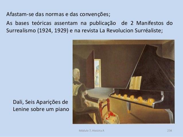 Dali, Seis Aparições de Lenine sobre um piano Afastam-se das normas e das convenções; As bases teóricas assentam na public...