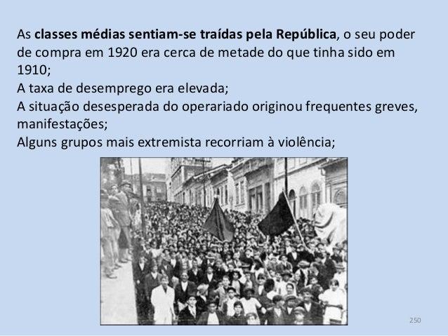 Módulo 7, História A 250 As classes médias sentiam-se traídas pela República, o seu poder de compra em 1920 era cerca de m...