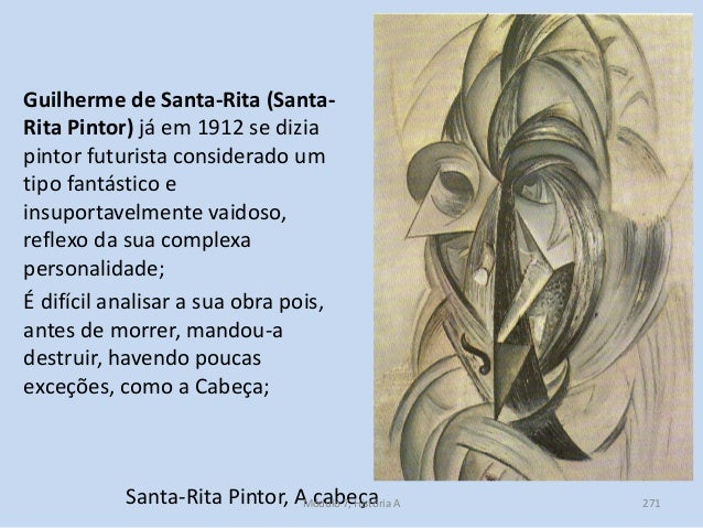 Santa-Rita Pintor, A cabeça Guilherme de Santa-Rita (Santa- Rita Pintor) já em 1912 se dizia pintor futurista considerado ...