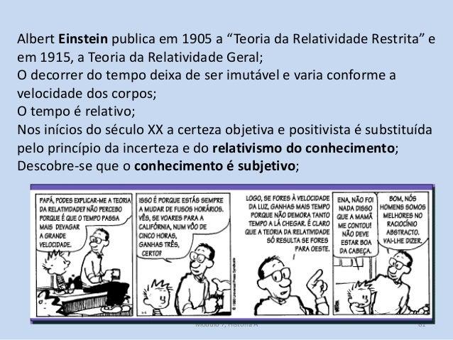 """Módulo 7, História A 81 Albert Einstein publica em 1905 a """"Teoria da Relatividade Restrita"""" e em 1915, a Teoria da Relativ..."""