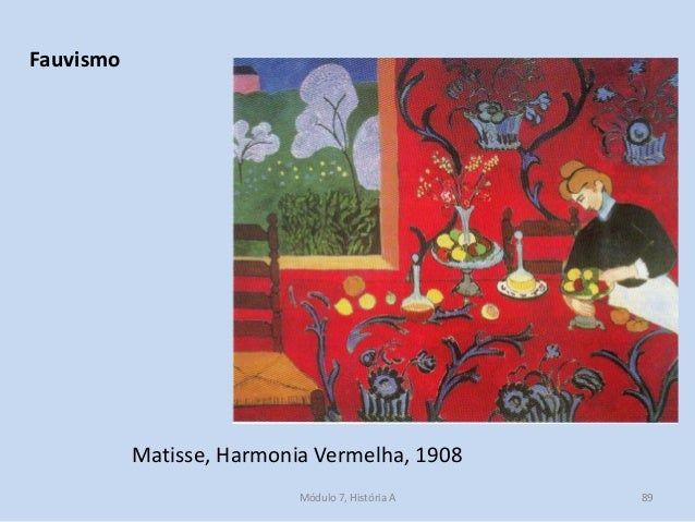 Matisse, Harmonia Vermelha, 1908 Fauvismo Módulo 7, História A 89