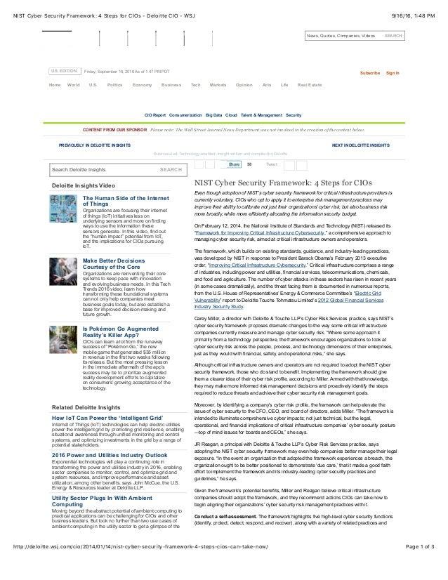 NIST Cyber Security Framework: 4 Steps for CIOs - Deloitte