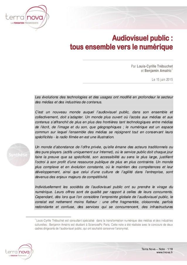 Terra Nova – Note - 1/18 www.tnova.fr Audiovisuel public : tous ensemble vers le numérique Par Louis-Cyrille Trébuchet et ...