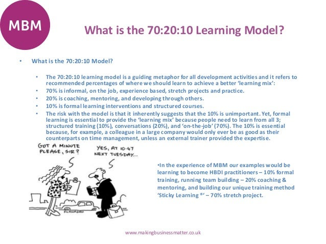 What is the 70:20:10 Learning Model? • What is the 70:20:10 Model? • The 70:20:10 learning model is a guiding metaphor for...